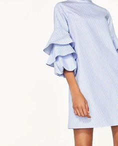 Image 2 of STRIPED DRESS WITH FRILLED SLEEVES. from Zara