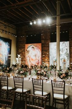 Combining romantic elements with industrial chic, Sarah and Jeff's big day at the Thompson Landry Gallery is a beautiful blend of trendy and traditional. Wedding Venues, Wedding Photos, Industrial Chic, Fall Wedding, Table Settings, Romantic, Table Decorations, Gallery, Kitchens