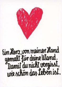 Lustige Postkarte - Ein Herz, von meiner Hand gemalt für deine Wand. Damit du nicht vergisst, wie schön das Leben ist.: Amazon.de: Bürobedarf & Schreibwaren