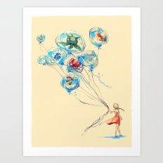 Art Print featuring Water Balloons by Alice X. Zhang