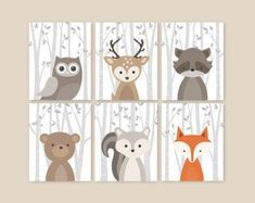 Fox Tier Art Print Kinderzimmer Dekor Woodland von YassisPlace