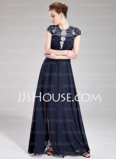 A-Line/Princess Scoop Neck Floor-Length Chiffon Tulle Evening Dress With Ruffle Beading Sequins (017019448)