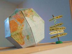 Cabrioles et Cacahuètes: Le Paper Globe Globe, Table Lamp, Education, Decor, Paper, Speech Balloon, Table Lamps, Decoration, Onderwijs