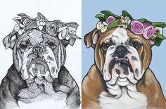 Sketch , english bulldog , bulldog , sketch to painting , teunen , jeroen teunen , the dog painter