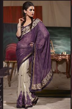 Embroidered Georgette Purple and White Wedding Saree by Indian Sarees, via Flickr