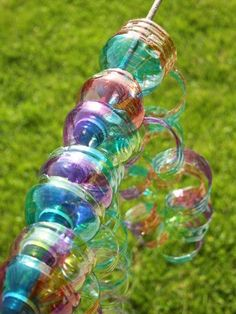 A great recycling craft: turn used water bottles into colourful wind spirals.