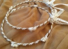 Orthodox Wedding Crowns (Stefana) Handmade with Jute Twine, White Lace and Flowers Wedding Crowns, Orthodox Wedding, Small White Flowers, Jute Twine, Cotton Lace, Rustic Style, White Lace, Crochet Necklace, Weddings