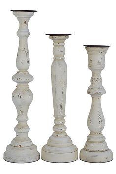 Distressed White Aberdeen Candle Holders