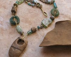 SALE Fossil Coral and Ancient Glass Woven Necklace with Ancient Mescala and Precious Opal Beads