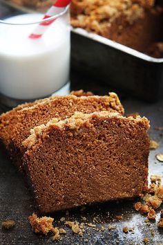 Cinnamon Streusel Pumpkin Bread (Soft and moist pumpkin bread topped with cinnamon oat streusel.) l Creme de la Crumb Pumpkin Recipes, Fall Recipes, Yummy Recipes, Baking Recipes, Dessert Recipes, Bread Recipes, Fall Desserts, Baking Tips, Muffin Recipes