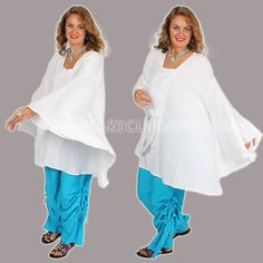 Sunheart bohemian Hippie Chic Ruched plus size WHITE UBER PONCHO Tunic one size sml med large xl 1x 2x 3x 4x plus