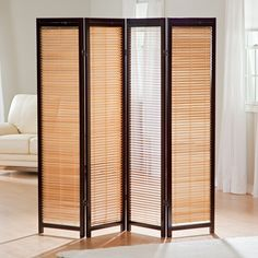 Tranquility Wooden Shutter Screen Room Divider in Espresso and Natural | from hayneedle.com