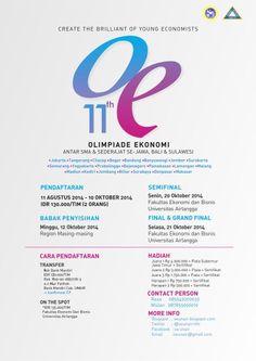 11th Olimpiade Ekonomi Antar SMA & Sederajat Se-Jawa, Bali & Sulawesi  Rundown : - Pendaftaran : 11 Agustus – 10 Oktober 2014 | IDR 130.000 / Tim (2 Orang) - Babak Penyisihan : 12 Oktober 2014 | Di Region Masing – Masing - Semifinal : 20 Oktober 2014 | Di Fakultas Ekonomi dan Bisnis Universitas Airlangga - Final & Grand Final : 21 Oktober 2014 | Di Fakultas Ekonomi dan Bisnis Universitas Airlangga  http://eventsurabaya.net/11th-olimpiade-ekonomi-antar-sma-sederajat-se-jawa-bali-sulawesi/