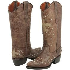 New Orleans Saints Womens Crystal Accent Cowboy Boots - Brown