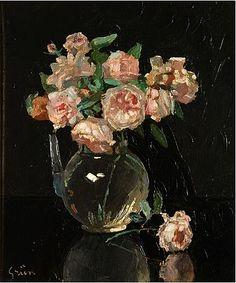 Vase de roses ~ Jules Alexandre Grün ~ (French, 1868-1934)