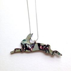 Blue Patterned Hare / Rabbit Necklace Rabbit Jewellery by MicaPeet