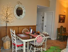 Dining Room. Non-traditional red, white and blude decor by Sharon McBride of All That Nonsense