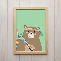 Bild Bär Kunstdruck A4 Tier Poster Niedliche Kinderzimmer Dekoration Druck