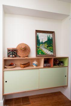 CF storage of by Kerf Design.love this sleek wooden built-in. Built In Furniture, Plywood Furniture, Home Furniture, Furniture Design, Plywood Table, Alcove Storage, Hallway Storage, Alcove Cupboards, Plywood Storage