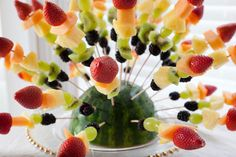 Great idea for fruit kabobs