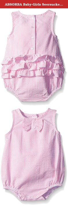 ABSORBA Baby-Girls Seersucker Romper, Pink, 3-6 Months. A newborn infant girls bubble seersucker romper. The romper has big bow detail on the front and ruffle detail along the back. Includes a back and bottom opening for easy on and off.