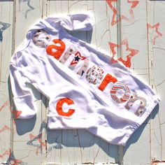 Personalized Infant Gown and Cap Blue and Orange
