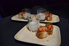 Spicy Tuna on Crispy Rice with a shot of sake - MStreet Catering and Events, Nashville, TN