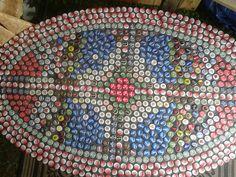 Bottle cap table Repurposed mosaics kj