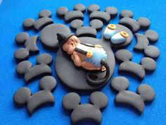 Fondant baby blue Mickey mouse with mickey por evynisscaketopper