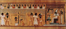 Fragment from the Book of the Dead - detail scene, from the Papyrus of Hunefer (c. The Book of the Dead is an ancient Egyptian funerary texts, which were the first illustrated manuscripts and which demonstrated consistent design format. Book Of The Dead, The Book, Anubis, Ancient Egypt Art, Ancient Aliens, Ancient History, Kemet Egypt, Ap Art, Egyptian Art