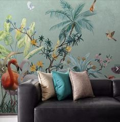Hand Painted Jungle Wall Mural Tropical Flower Bird Wallpaper Murals HD Photo Wall Paper for Living
