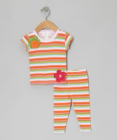 Take a look at this Pink & Green Stripe Flower Tunic & Leggings on zulily today!