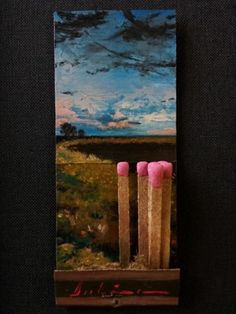 Michael Dubina, Day 131 of the Matchbook Series 2015, oil on matchbook Spring