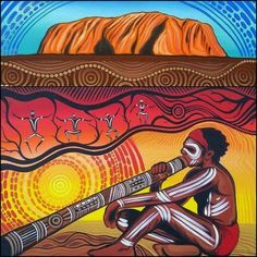 Native Aborigine playing a Didgeridoo in sight of Uluru (Ayres Rock). Aboriginal Art Animals, Aboriginal Dot Painting, Aboriginal People, Indigenous Australian Art, Indigenous Art, Indigenous Education, Didgeridoo, Arte Tribal, Tribal Art