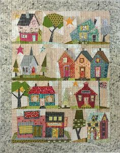 My Kinda Town - From Fiberworks INC By Laura Heine & Peggy Larsen My Kinda Town quilt pattern designed by Laura Heine and Peggy Larsen for Fiberworks features 9 whimsical paper pieced blocks. In a quaint town setting! Pattern includes complete instructions for the quilt and full sized patterns. Size 42 x 54
