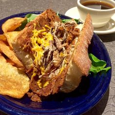 The new Blue Plate Special is FRENCH DIP: House-made shaved Seitan and Swiss cheese/Daiya vegan cheese/house vegan cheese on a grilled Iggy's baguette dressed w/horseradish mayo & topped with crispy fried onions. We're serving the French Dip with a house-made vegan au jus (for dipping) dressed field greens and a side of potato salad slaw or potato chips. #vegan or #vegetarian . The Blue Plate Special is available on our Dinner menu starting at 5 p.m. Starts on a Wednesday and runs for a…