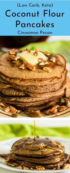 These keto cinnamon pecan coconut flour pancakes drenched in sugar free maple syrup create the ultimate low carb breakfast item. A combination that puts you in the essence of a keto pecan pie. Moist buttery pancake with a pecan crunch sure to fool the ear What Is Coconut Flour, Coconut Flour Pancakes, Keto Pancakes, Breakfast Items, Low Carb Breakfast, Breakfast Recipes, Pancake Recipes, Keto Cookies, Keto Galletas