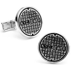 Cufflinks Inc - Ravi Ratan Interest Sterling NYC Manhole Cover Cufflinks