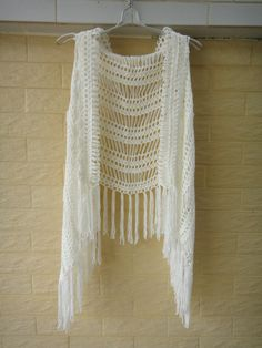 Crochet Fringe Vest Summer Beach Cover Up by Tinacrochetstudio