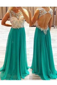 Elegant Round Neck Chiffon Long Backless Green Prom Dress With Beading