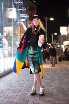 Harajuku street fashion, japanese fashion, street style inspiration, sequins, platform shoes, cute accessories