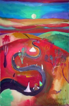 El camino, acrylic on canvas, 70 x 46 cm. year 2007 .Painting of the Serie Simbolism for sale by artist Diego Manuel