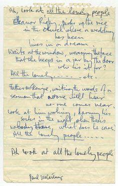 """Eleanor Rigby"" - The Beatles' original lyrics - Pictures - CBS News"