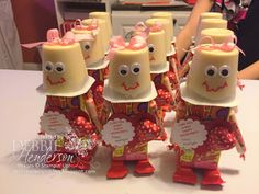 - Kaitlynn's Valentine's Treats for her classmates! Aren't these adorable? Idea was found on Pi - School Valentines Treats, Valentines Robots, Valentines Day Baskets, Valentine Gifts For Kids, Valentine Activities, Valentines Diy, Diy Valentine's Treats, Valentine's Cards For Kids, Candy Crafts