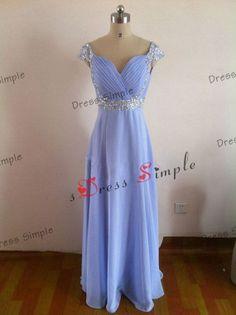 Straps V Neck Beading Pleated Full Length-Chiffon Bridesmaid Dress / Simple Bridesmaid Dress /Long Bridesmaid Dress / Short Prom Dress