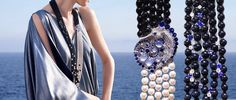 Van Cleef & Arpels Seven Seas: Black Sea Cheval Des Mers long necklace with white gold, round diamonds, round sapphire gradation, cabochon-cut sapphire, white culture pearls, onyx beads and cabochon-cut chalcedonies.