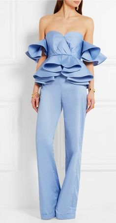 Cerulean cotton-poplin Concealed hook and zip fastening at back cotton Dry clean Imported High Fashion, Womens Fashion, Mode Style, Jumpsuits For Women, African Fashion, Fashion Outfits, Fashion Trends, Dress To Impress, Ready To Wear