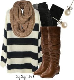 Comfy clothes - boots, skinny jeans, striped shirt, scarf, earrings.