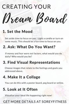 Dream board tips to achieve your goals and live a healthier, happier life!