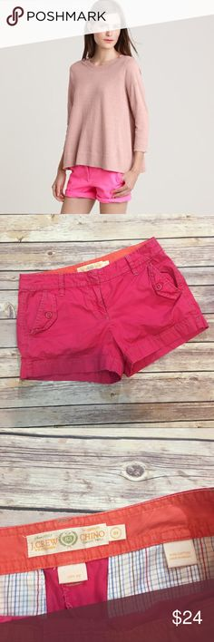"""J.Crew Pink City Fit Chino Shorts J.Crew Pink Chino Shorts. 100% cotton. Rise 8"""". Inseam 3"""" total length 11"""". Pic 1 for styling inspiration (B005) Please carefully review each photo before purchase as they are the best descriptors of the item. J. Crew Shorts"""